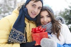 Älska par i vinter Fotografering för Bildbyråer