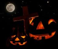 läskig halloween pumpa Fotografering för Bildbyråer