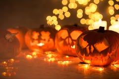 Läskiga pumpor för halloween Fotografering för Bildbyråer