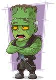 Läskigt grönt monster Frankenstein för tecknad film Arkivfoton