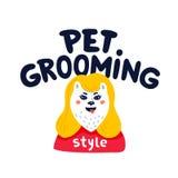 ?lsklings- ansalogo Lyckligt hundhusdjur som ansar bokstäver på vit bakgrund Hundomsorg som ansar, hygien, hälsa ?lsklings- shopp vektor illustrationer