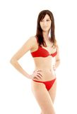 älskvärd röd underkläder för brunett Arkivfoto