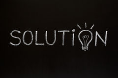Lösningsbegrepp på blackboarden Fotografering för Bildbyråer