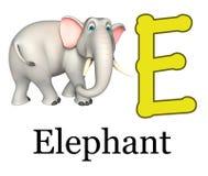 Löst djur för elefant med alfabet Arkivfoton