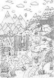 Löst liv i skogen som dras i linjen konststil Design för sida för färgläggningbok Royaltyfria Foton
