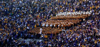 LSU Tiger Band and Golden Girls. LSU's Tiger Band and Golden Girls entertain fans in the stands during a football game Stock Photography