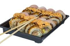 LSushi, еда, рис, продукт, сварило, семги, морепродукты, рыба, японцы, сырцовые, крен Стоковая Фотография RF