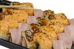 LSushi, еда, рис, продукт, сварило, семги, морепродукты, рыба, японцы, сырцовые, крен Стоковая Фотография