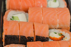 LSushi, еда, рис, продукт, сварило, семги, морепродукты, рыба, японцы, сырцовые, крен Стоковое Фото