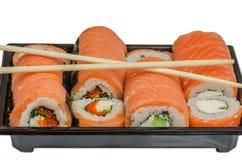 LSushi, еда, рис, продукт, сварило, семги, морепродукты, рыба, японцы, сырцовые, крен Стоковые Изображения
