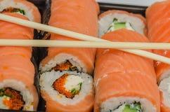LSushi, еда, рис, продукт, сварило, семги, морепродукты, рыба, японцы, сырцовые, крен Стоковое Изображение