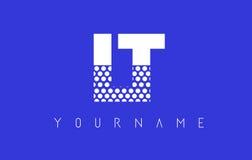 LT L T Dotted Letter Logo Design con el fondo azul Imágenes de archivo libres de regalías