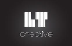 LT L T Letter Logo Design With White et lignes noires Images libres de droits