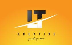 LT L T Letter Modern Logo Design avec le fond jaune et le Swoo illustration de vecteur