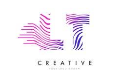 LT L T Zebra Lines Letter Logo Design avec des couleurs magenta Photographie stock