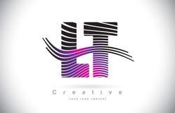 LT L T Zebra Texture Letter Logo Design With Creative Lines et Photos stock