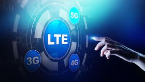 LTE band, mobile internet and telecommunication technology concept on virtual screen. stock images