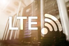 LTE, 5g wireless internet technology concept. Server room data center big data royalty free illustration