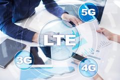 LTE-nätverk mobilt begrepp för internet 5G och teknologi Fotografering för Bildbyråer