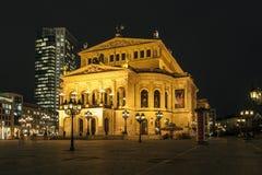 Lte Oper bij nacht in Frankfurt Stock Afbeeldingen
