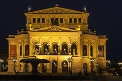 Lte Oper przy nocą w Frankfurt Zdjęcia Royalty Free