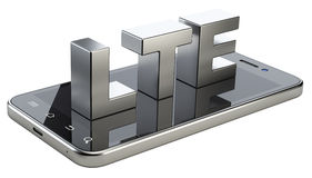 LTE sign on smart phone screen. High speed mobile web technology. 3d illustration isolated on a white background Stock Photos