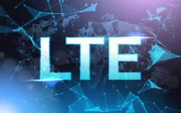 Lte Sign Symbol Over Futuristic Low Poly Mesh Wireframe On Blue Background. Vector Illustration Royalty Free Stock Image