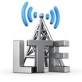 LTE transmitter. Metal antenna symbol with letters LTE on white Royalty Free Stock Photos