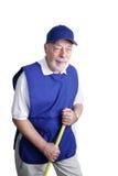 Ältere Arbeitskraft - Besen-Jockey Stockfotos