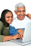 Ältere auf Computer Stockfotos