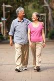 Ältere chinesische Paare, die in Park gehen Stockfotografie