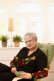 Ältere Dame, die Tee zu Hause trinkt Stockbild