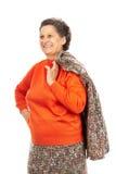 Ältere Frau getrennt auf Weiß Stockfotografie