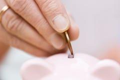 Ältere Frauenhand, die Geld zum Sparschwein steckt Stockbilder