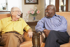 Ältere Männer, die in den Lehnsesseln sich entspannen Lizenzfreies Stockbild