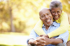 Ältere Paare, die in Autumn Landscape sich entspannen Stockbilder