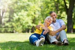 Ältere Paare, die im Park sitzen Stockfotografie