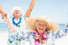 Ältere Paare mit den Armen oben auf dem Strand Lizenzfreies Stockfoto