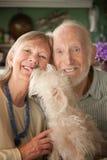 Ältere Paare mit Hund Stockbilder