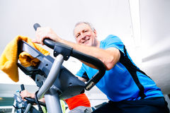 Älterer Handelnsport auf spinnendem Fahrrad in der Turnhalle Stockbilder