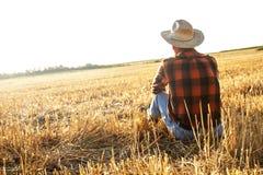 Älterer Landwirt, der auf einem Weizengebiet sitzt Stockfotografie