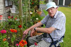 Älterer Mann: Gartenarbeit Stockbild