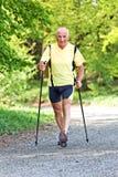 Älterer Mann mit dem nordischen Gehen Stockfoto