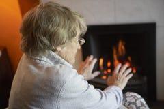 Älteres Frauen-Lesebuch zu Hause Lizenzfreie Stockfotografie