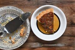 Último tarte de pecan da fatia Foto de Stock