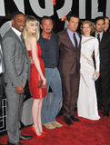 Emma Stone,Anthony Mackie. LtoR: Anthony Mackie, Emma Stone, Sean Penn, Josh Brolin, Mireielle Enos & Michael Pena at the world premiere of their movie 'Gangster Stock Images