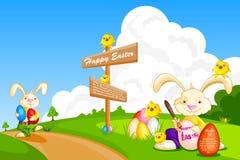 Ägg för kaninmålningpåsk Royaltyfri Fotografi