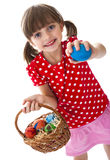 Lttle girl with easter eggs Stock Images