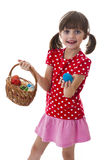 Lttle girl holding easter eggs Royalty Free Stock Photo