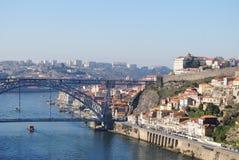LuÃÂs Ι ποταμός Douro, Πόρτο, Πορτογαλία, γέφυρα γεφυρών άνω ri Στοκ Εικόνες